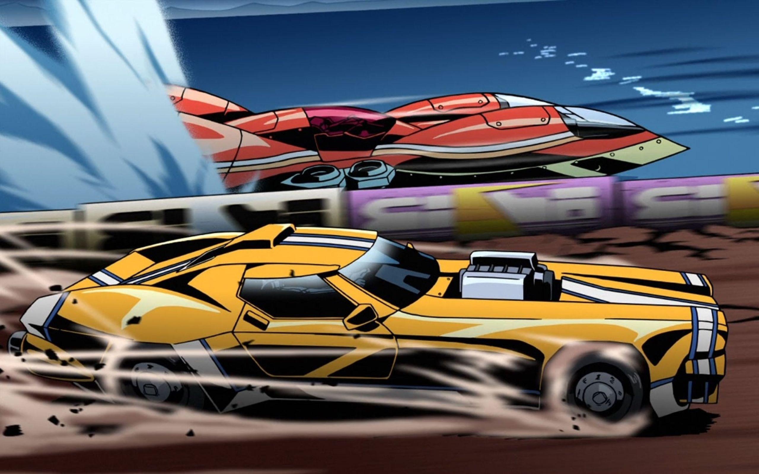 Still of cars racing from Redline. Transport