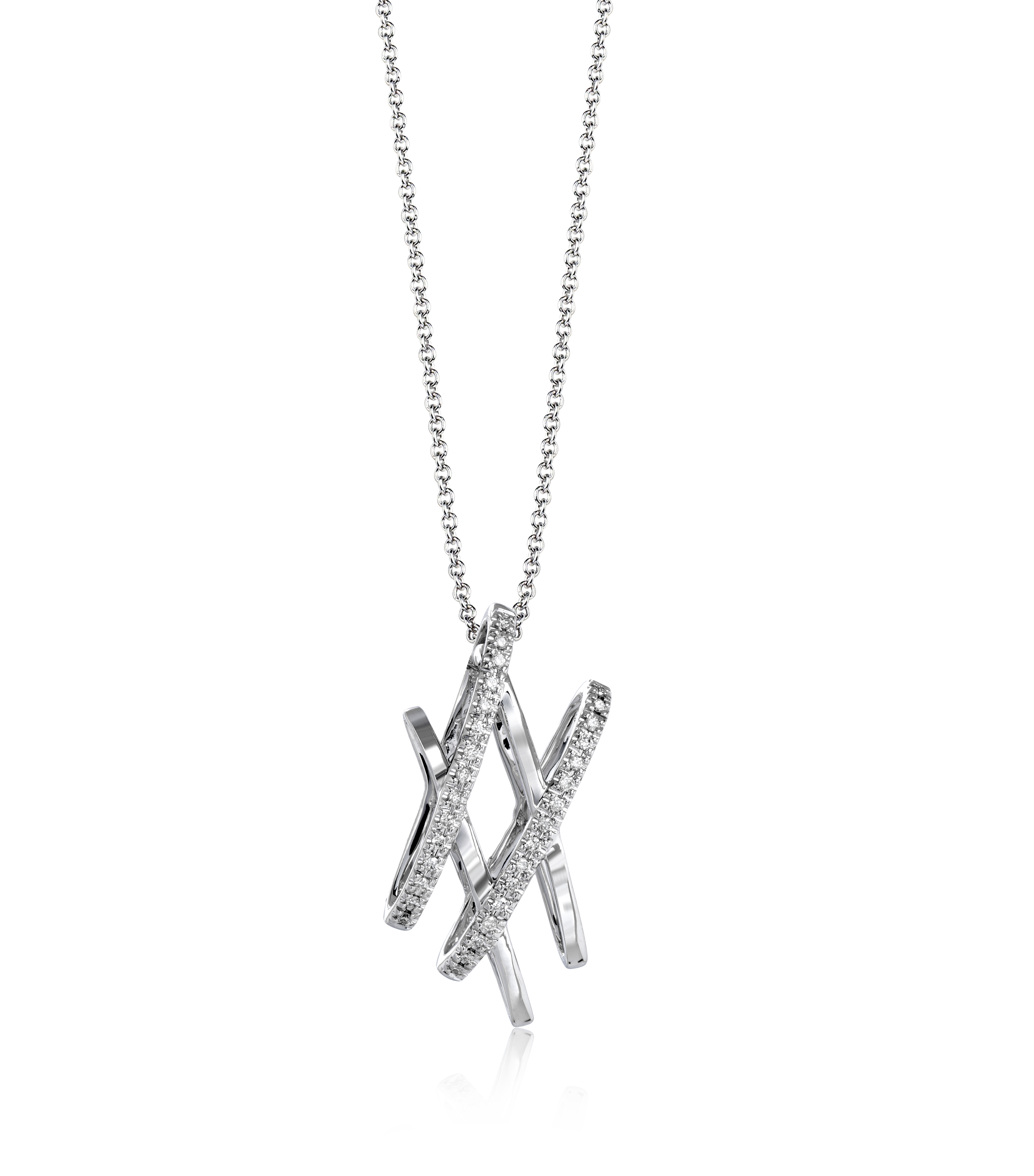 This delicate diva k white gold pendant has a fun design set with