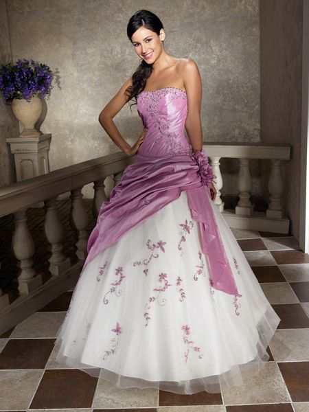 Elegant Lilac And White Strapless Beading Ball Gown