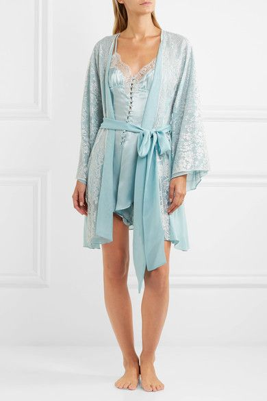 2c85e9fa2c09 Rosamosario - Cosmic Love Chantilly Lace And Silk-crepe Robe - Sky blue