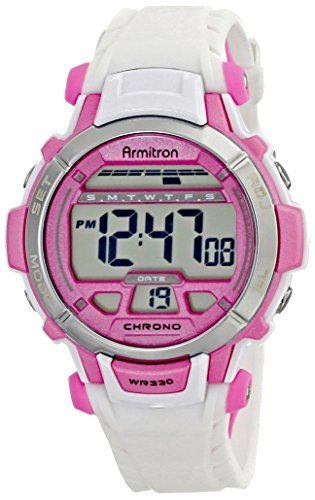 Women's Wrist Watches - Armitron Sport Womens 457036WHT Pink Accented White Resin Strap Digital Chronograph Sport Watch ** See this great product. (This is an Amazon affiliate link)