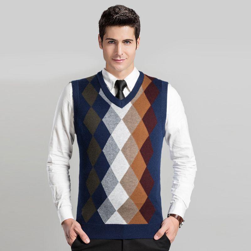 2016 Top Quality New Fashion Design Mens Autumn Argyle Patterns Sweater Vest  Pullover V-neck Sleeveless Cashmere Sweater 002475c74