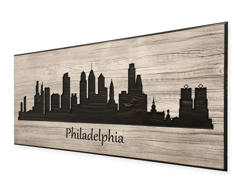 Philadelphia Skyline Wood Wall Art Unique Decor Carved