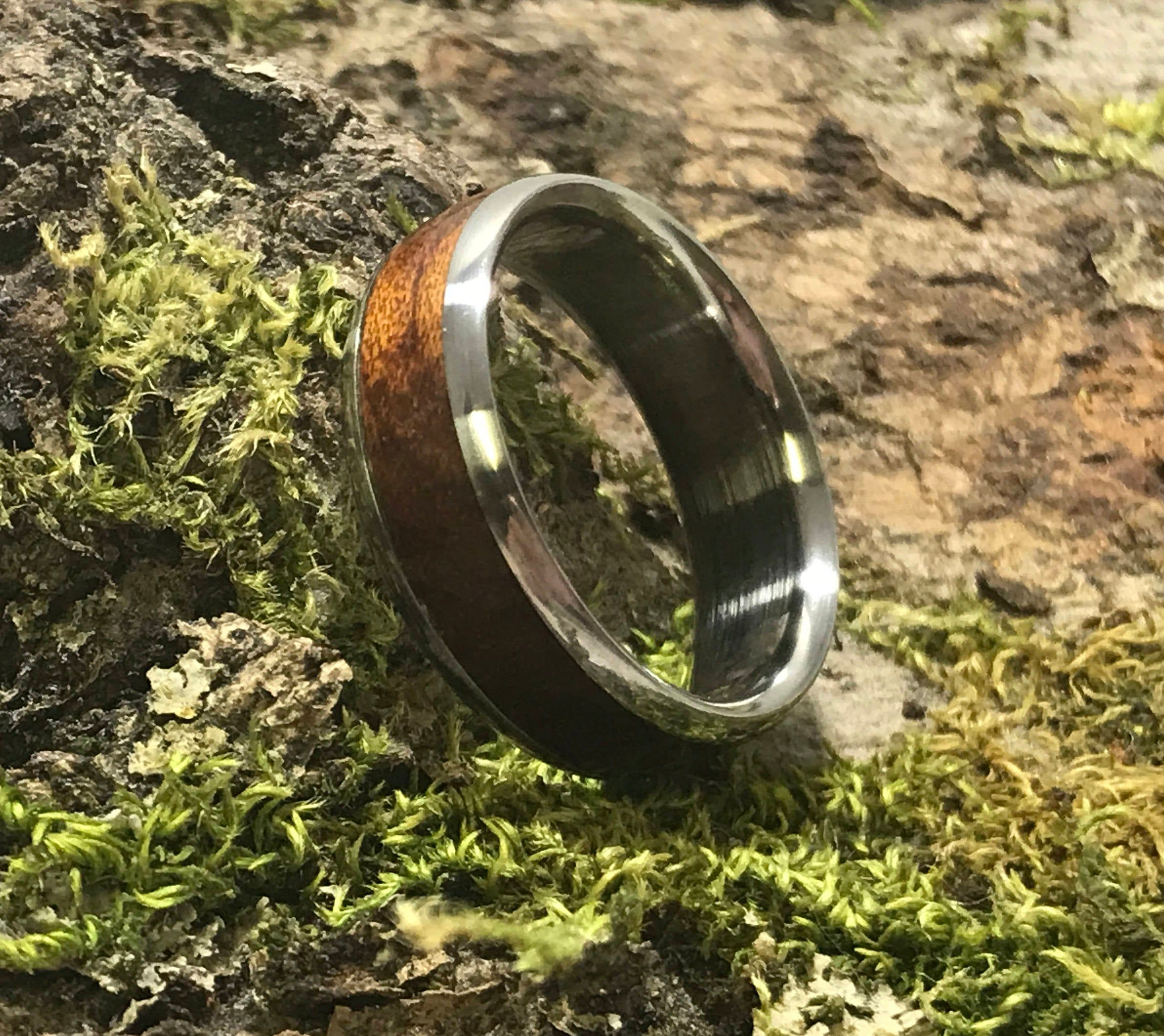 Mens Wooden Wedding Band, Mens Titanium Ring, Ancient