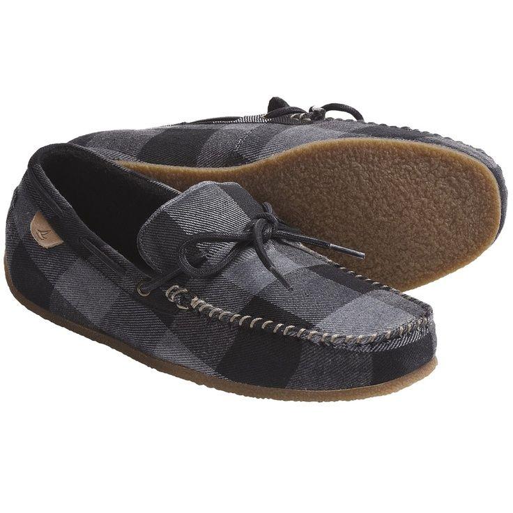 Sperry Top-Sider R Moccasin Slippers - Fleece Lining (For Men) in Grey  Buffalo Wool