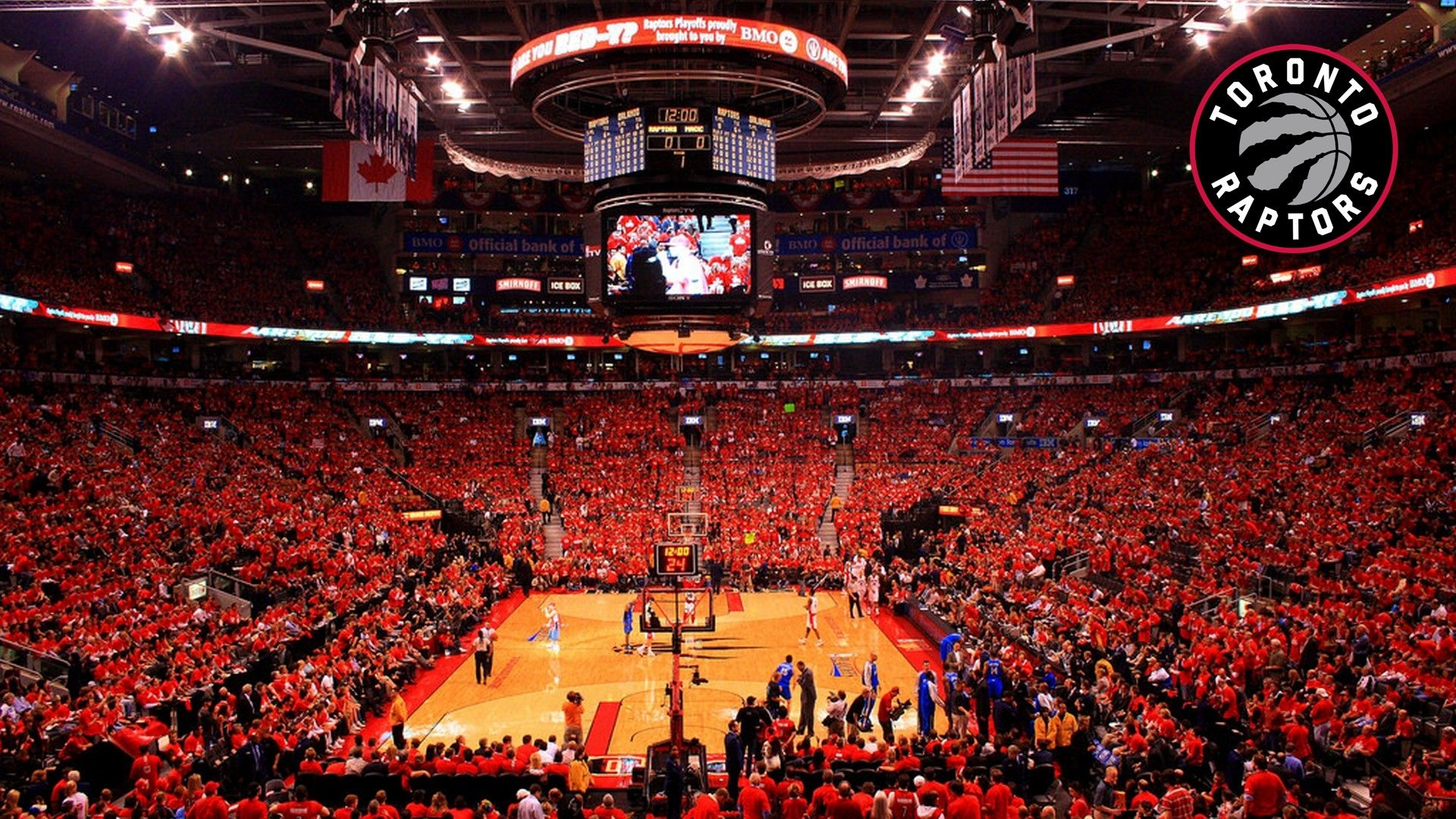 Toronto Raptors Stadium Desktop Wallpapers In 2020 Toronto Raptors Nba Pictures Basketball Background