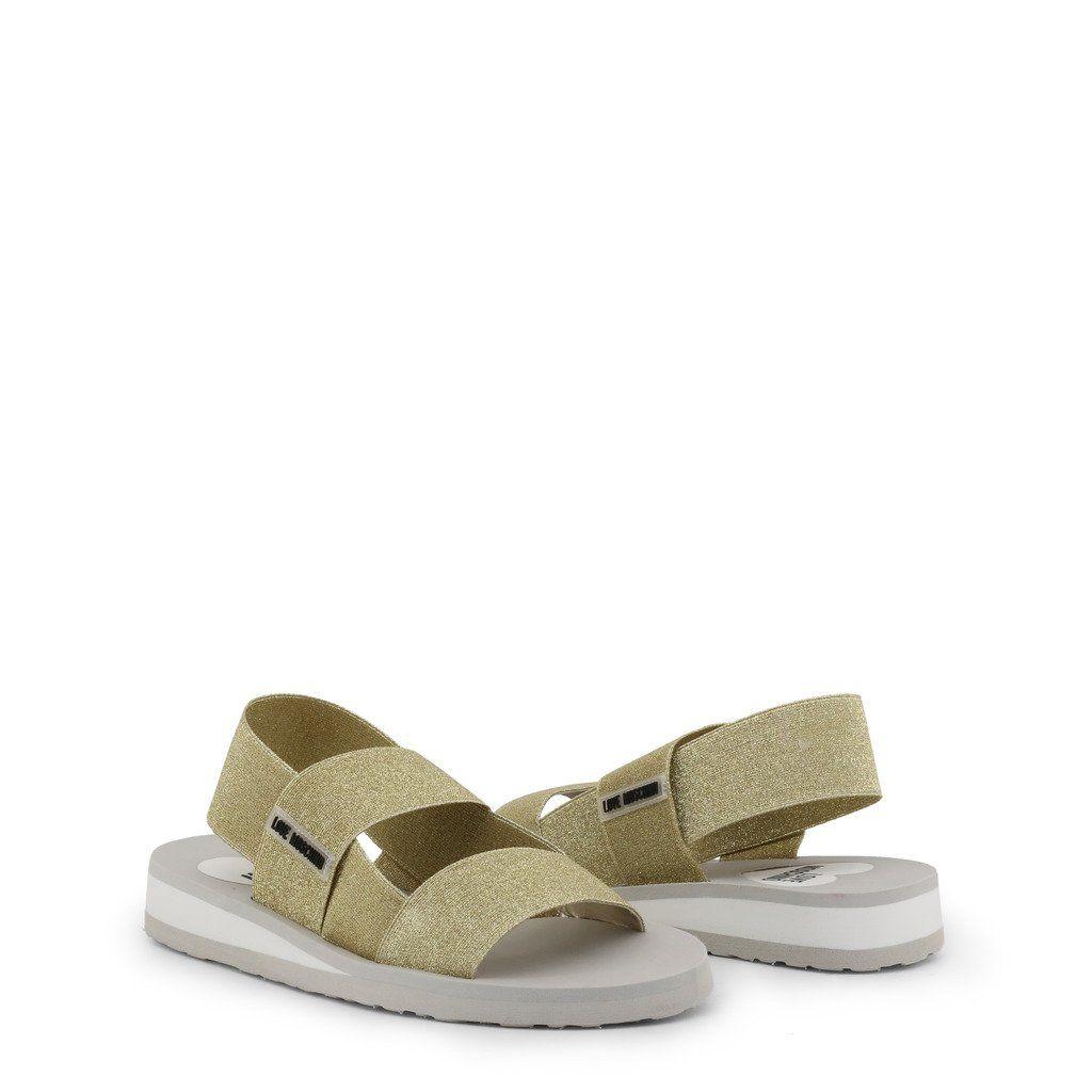 Love Moschino Ladies Glitter Grey Elasticated Sandals