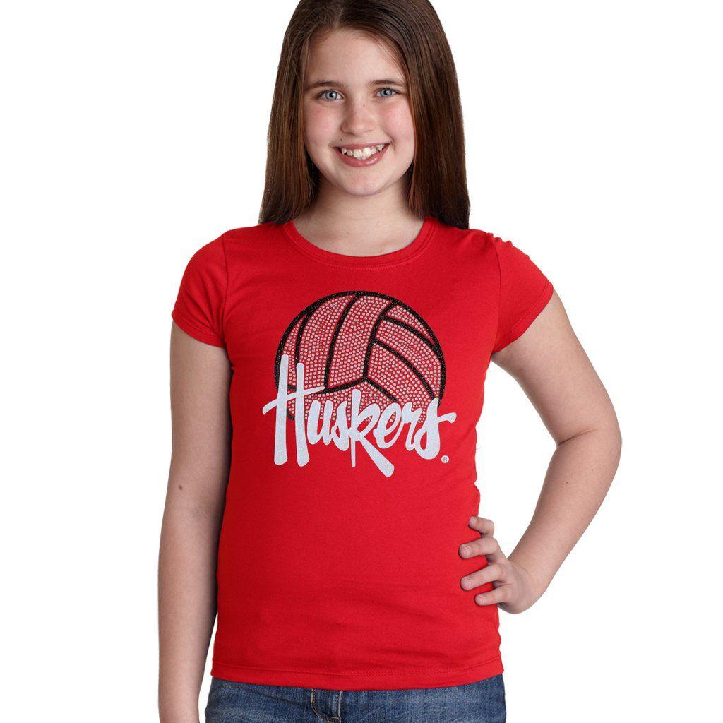 Nebraska Husker Youth Girls Tee Shirt Huskers Volleyball With Glitter And Rhinestones Girls Tee Shirts Girls Tees Tee Shirts