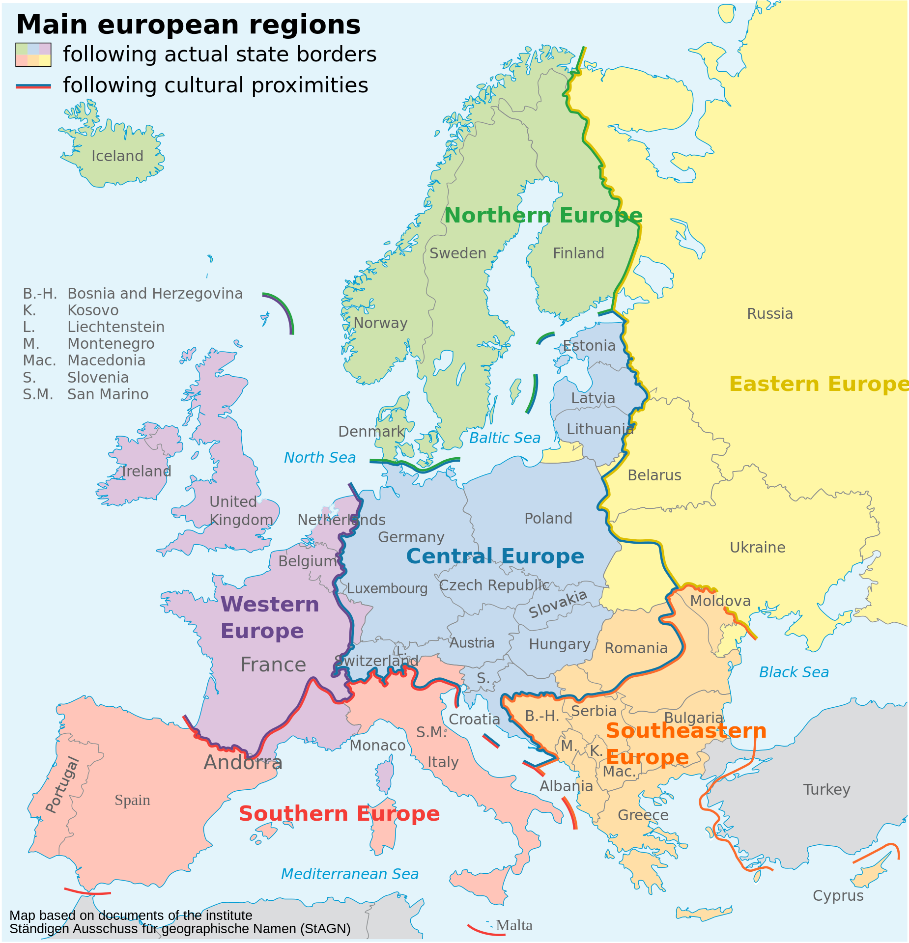 States of Mitteleuropa (blue) and the larger cultural