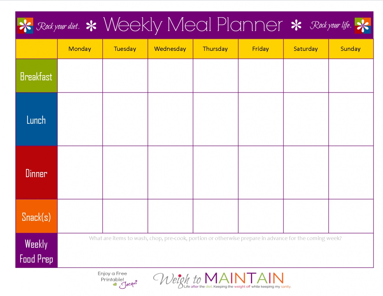 Weekly Food Chart Template  Meal Schedule Template Planner