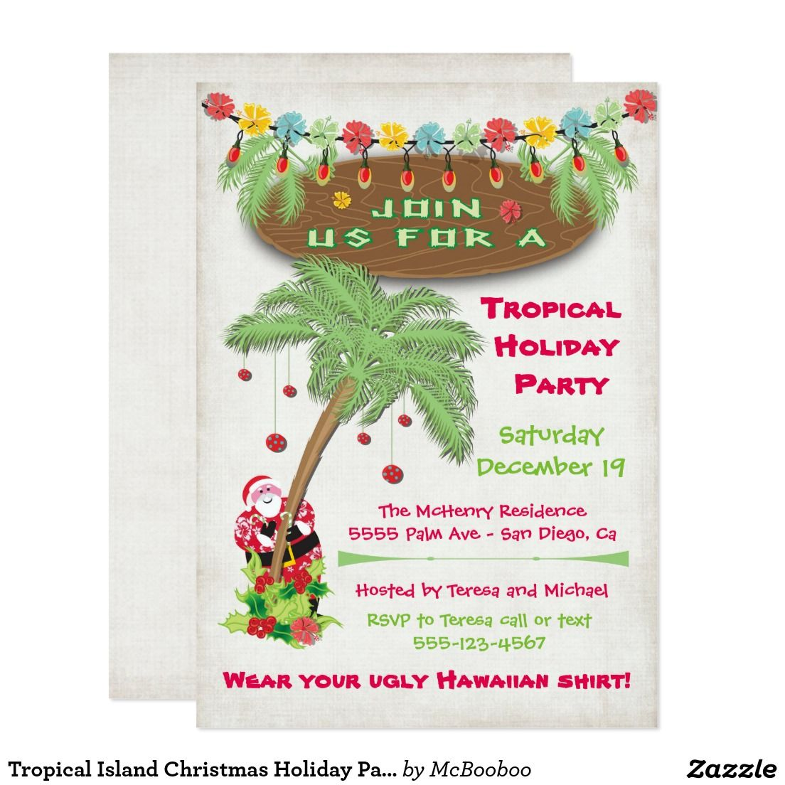 Tropical Island Christmas Holiday Party Invitation | Christmas Party ...