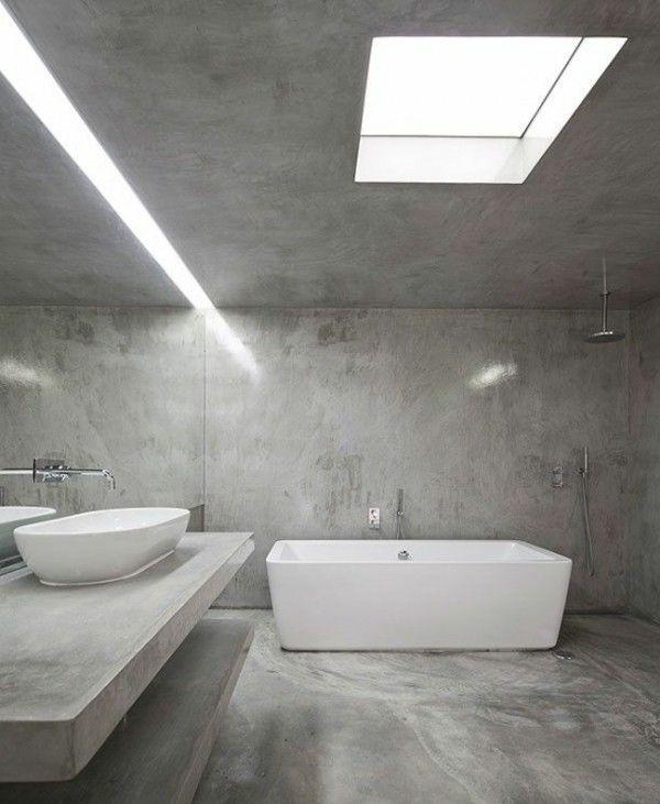 Béton Ciré Dans Une Salle De Bain Minimaliste Httpwwwhomelisty - Beton cire dans salle de bain
