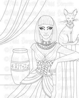 Cleopatra Coloring Page Digital Stamp In 2020 Animal Line