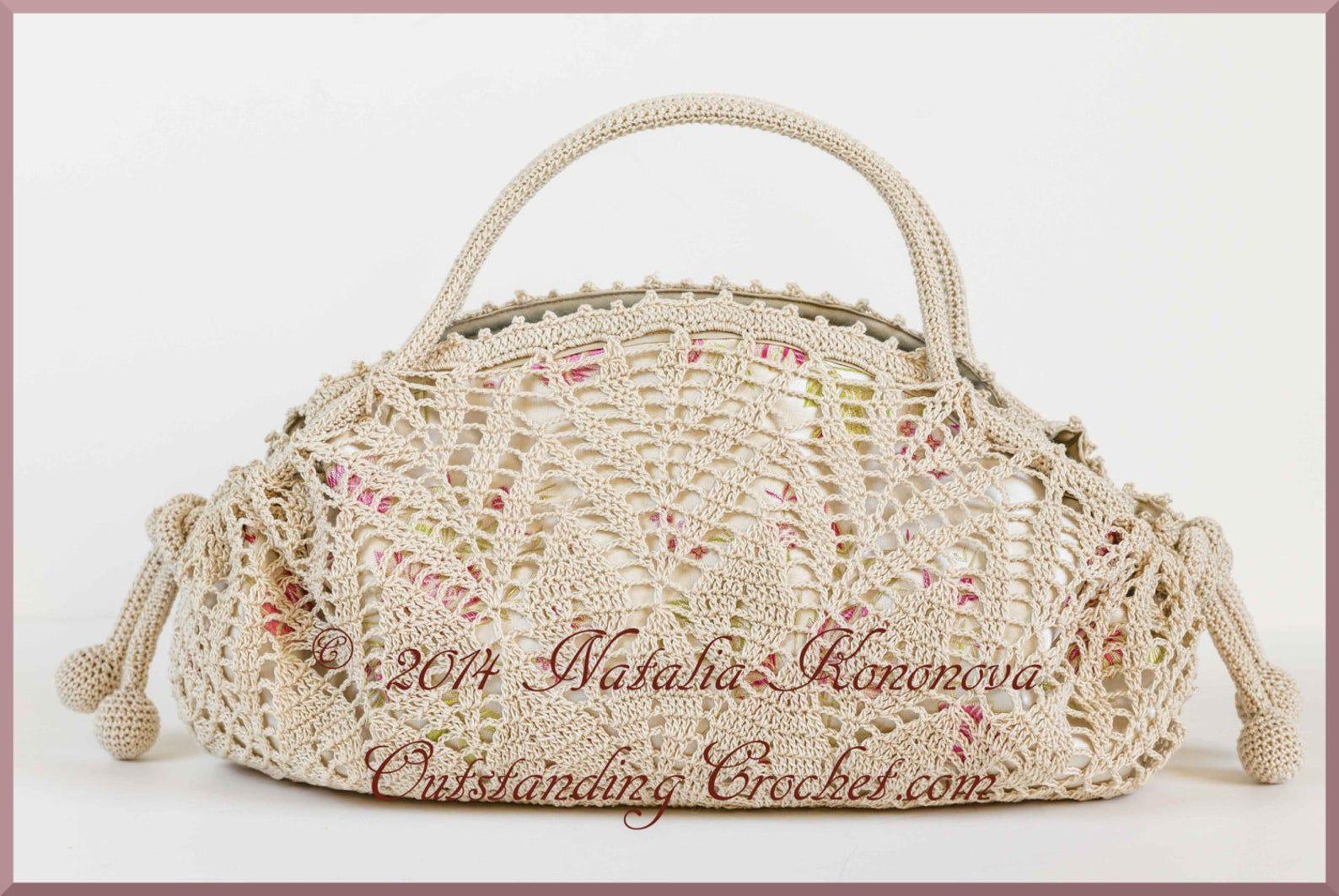 Crochet Bag PATTERN - Tea Rose Handbag - Crochet Doily Elegant Purse with Flowers and Leaves Irish Crochet Motifs Embellishment - PDF