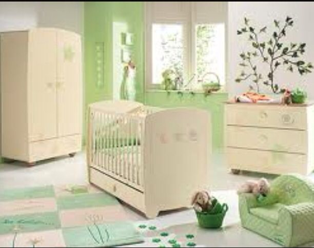 Chambre Mixte Bebe, Nature, Beige Et Verte
