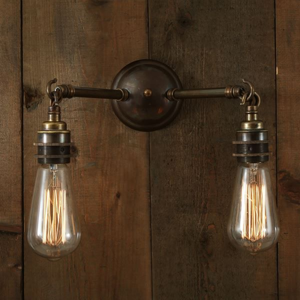 Arrigo double wall light pinterest industrial interiors rustic with industrial flair the arrigo double wall light brings the light exactly where you want it in two distinct locations with two rustic style arms that aloadofball Gallery