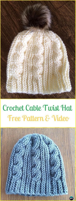 Crochet Cable Twist Hat Free Pattern & Video - Crochet Cable Hat ...