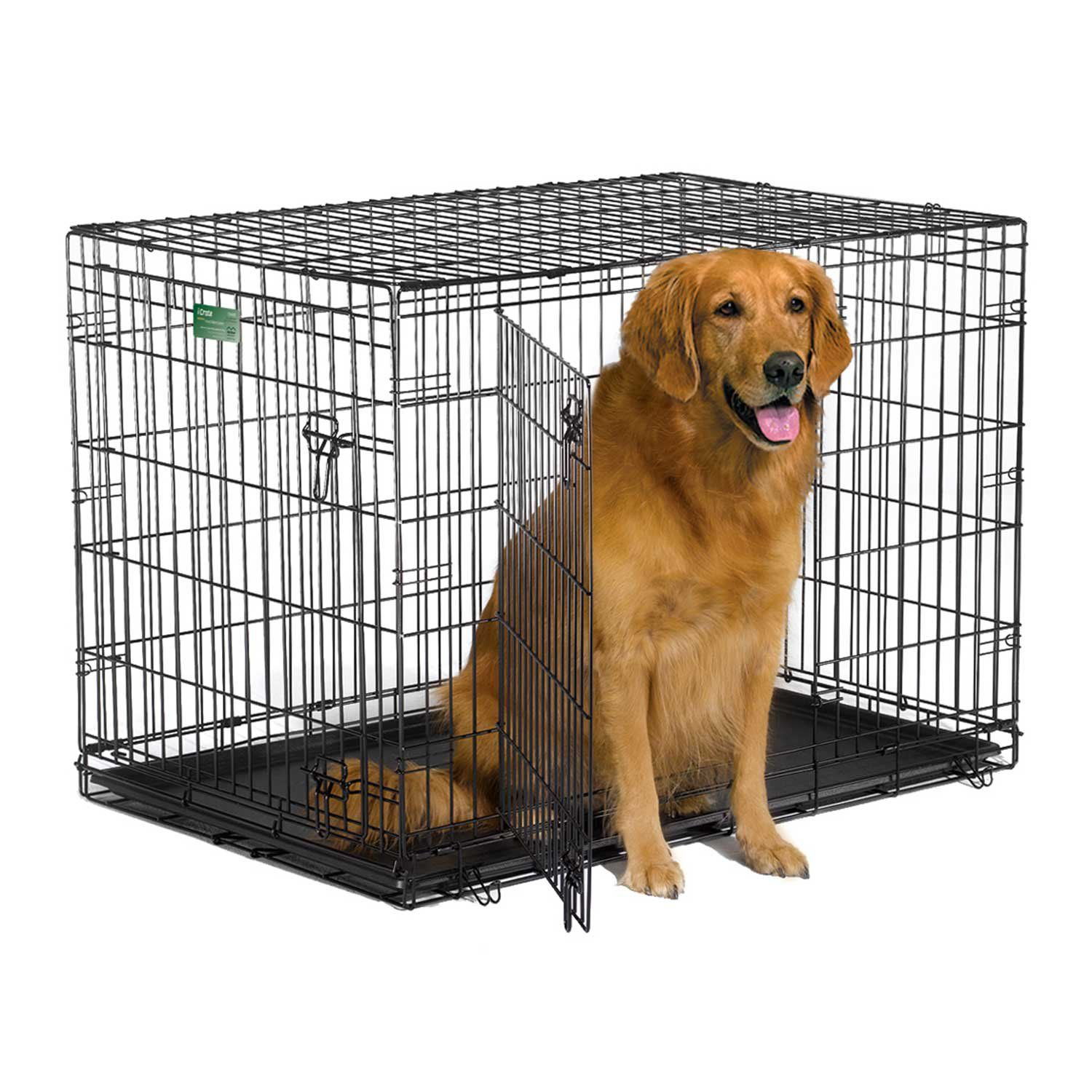 The Dog Crate Comes To You Equipped With Every Feature You Can Think Of Double Door A Composite Plastic Pan Plastic Carr Wire Dog Crates Dog Cages Dog Crate