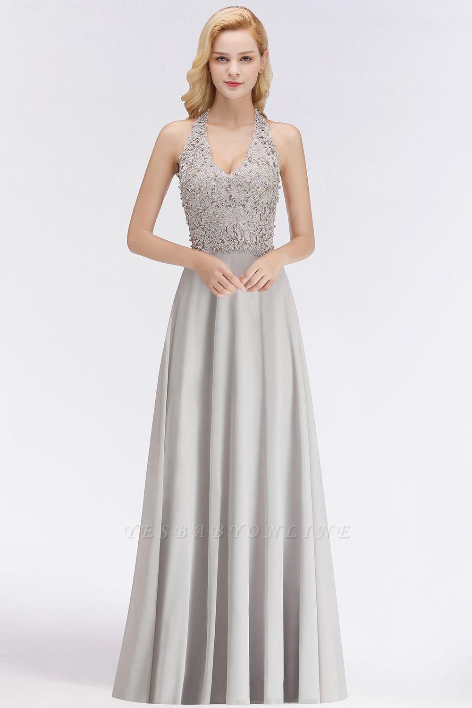 Cheap aline halter chiffon lace bridesmaid dress with