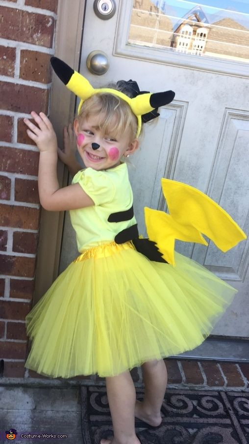 Sweet Little Pikachu  Halloween Costume Contest at CostumeWorks com - Pikachu halloween costume, Pokemon halloween costume, Pikachu costume diy, Little girl halloween costumes, Halloween costumes for girls, Pikachu costume kids - Claire This is Lorelai  She is 3  It was her idea to be a pikachu this Halloween  She is obsessed, and I am happy that I made her pikachu wish come