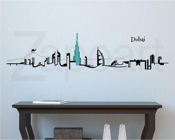 dubai skyline wall vinyl decal in 2019 | clock | vinyl wall decals