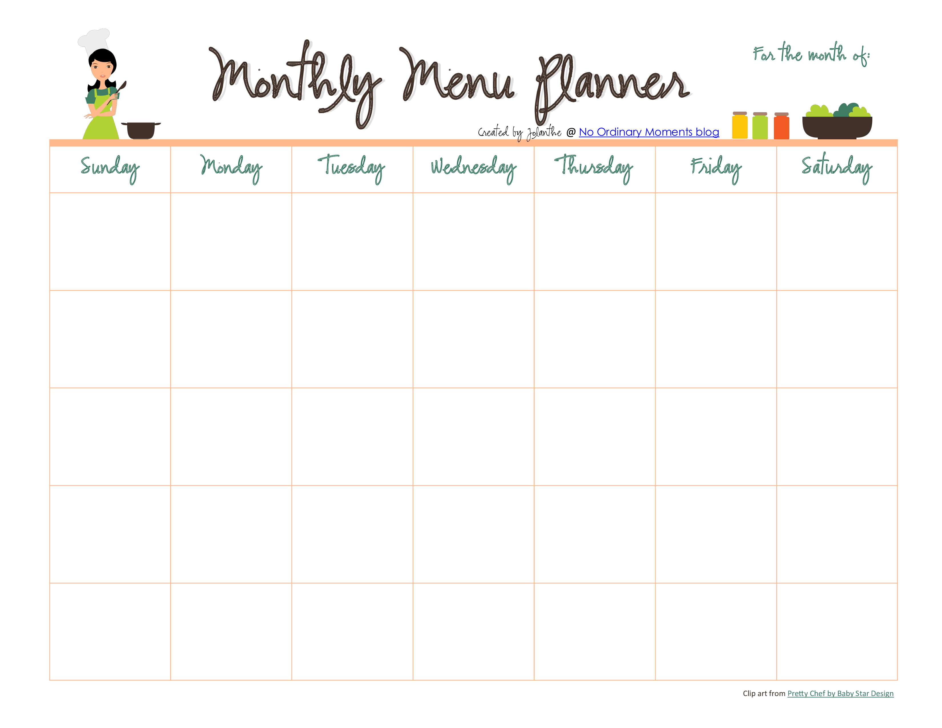 Monthly Meal Menu Planner Pdf Format Template 0a Monthly