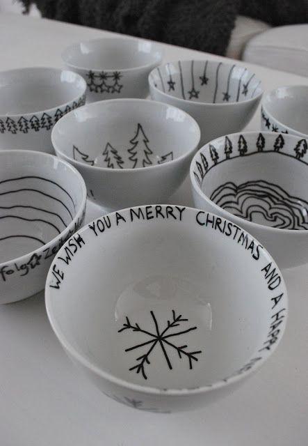 In der Weihnachtswerkstatt: Schalen mit Krachmandeln