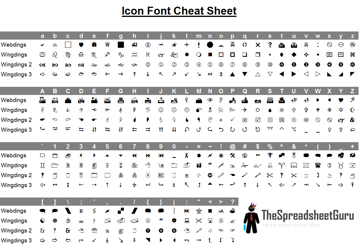 Wingdings Amp Webdings Font Icon Character Map Printable