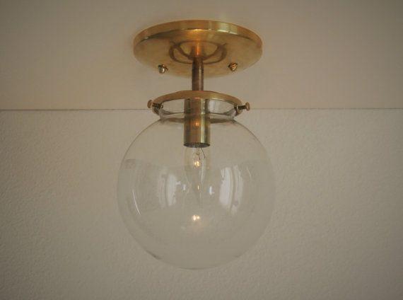 Semi Flush Ceiling Lights Glass Brass Fixture Bathroom: Brass Semi-flush Mount Ceiling Fixture With A Clear Glass