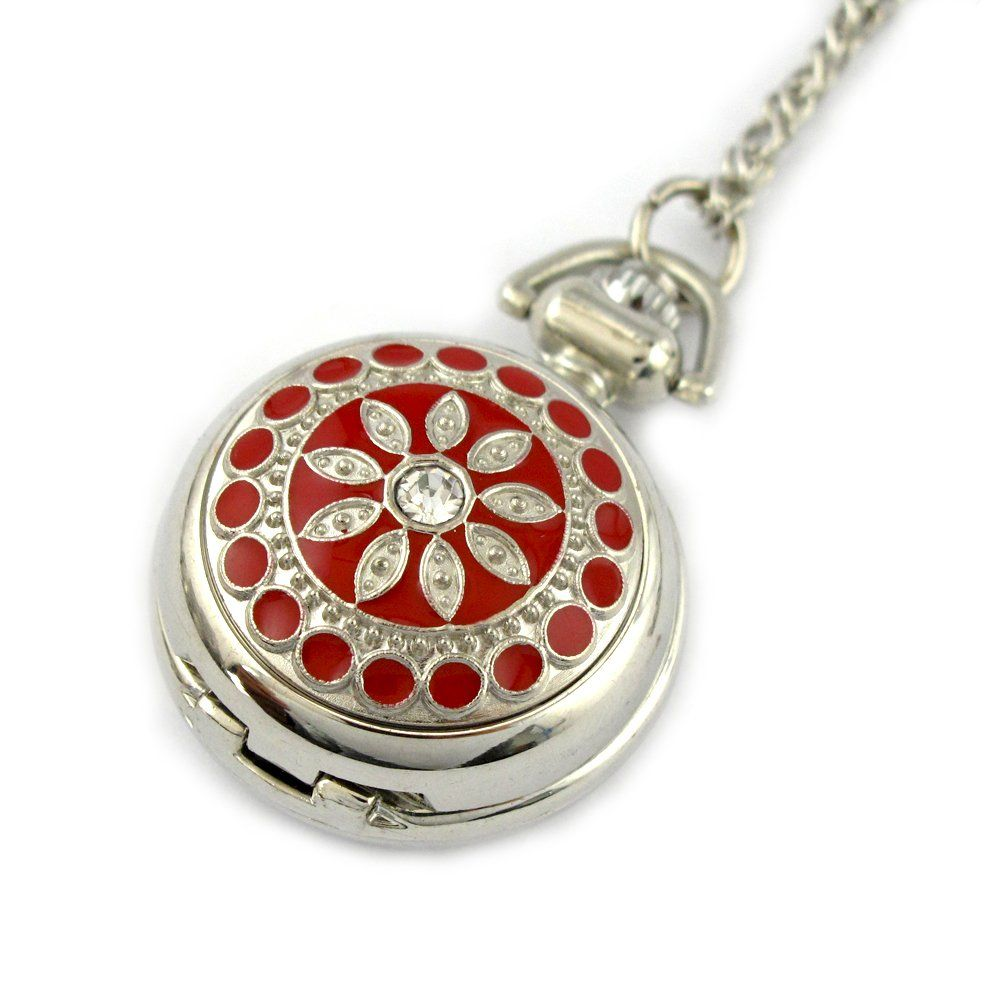 Youyoupifa Women's Stainless Steel Hunter-case Necklace Pendant Pocket Watch (Red)