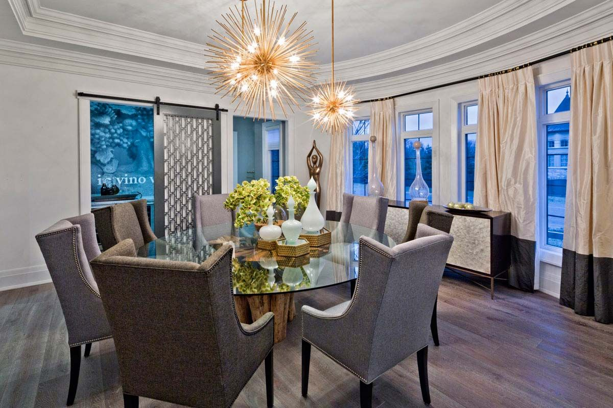 Giant glass table on gnarled wood base barn door closure hides the giant glass table on gnarled wood base barn door closure hides the wine room off the dining room kleinburg showhome gallery dzzzfo