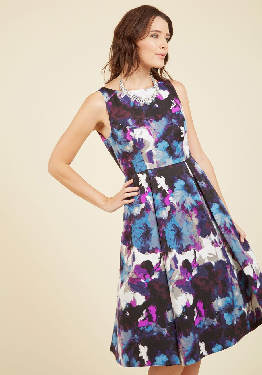 Independent Resplendence Midi Dress   Mod Retro Vintage Dresses   ModCloth.com  By flaunting this fit and flare dress by Adrianna Papell, you don't just display a look of pure refinement - you let your inner light shine bright! This floral midi - with its black, white, blue, and purple watercolor motif, pleats, and pockets - can simply be styled with just a smile.