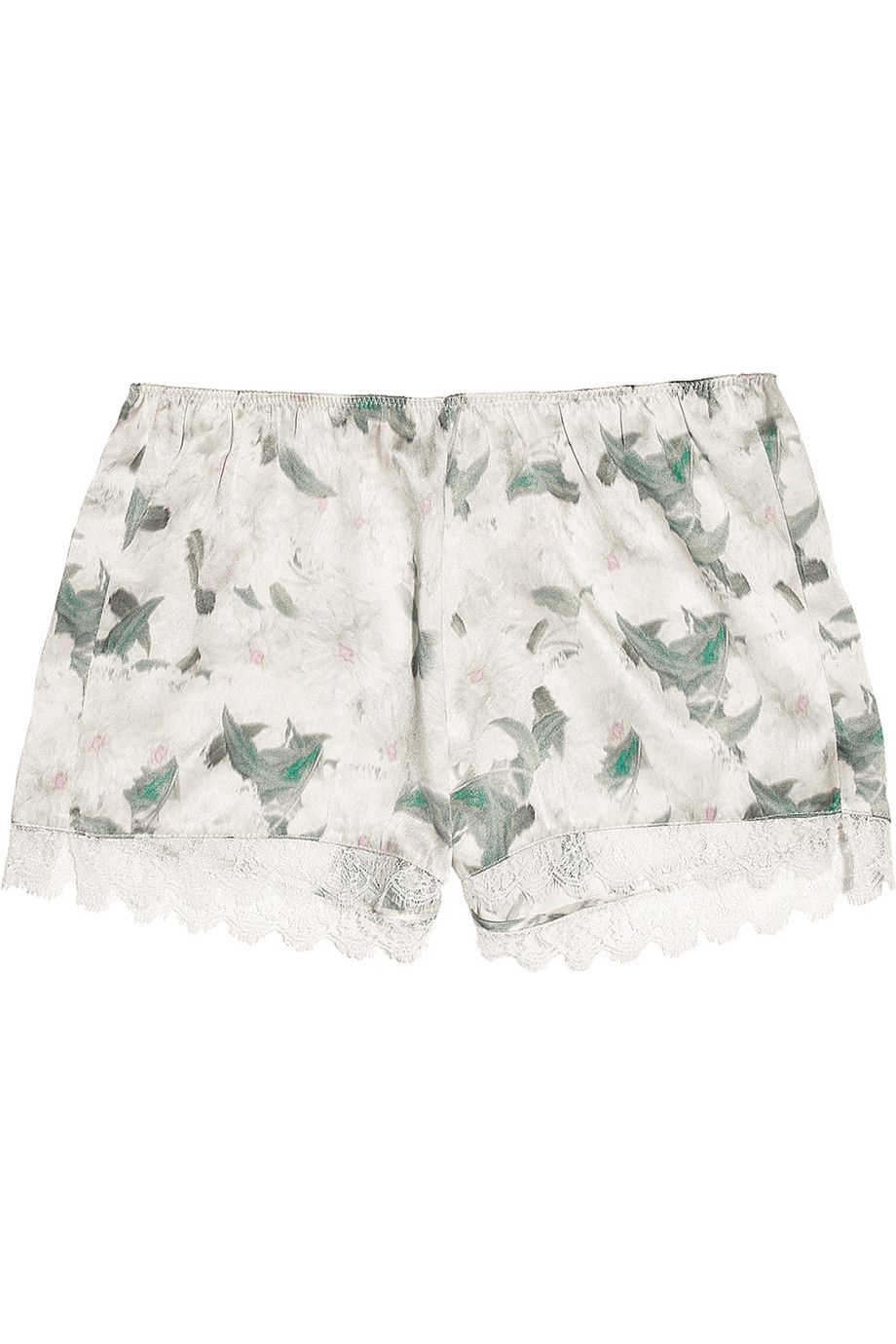 Lace-trimmed floral print silk-satin shorts, classic Erdem. #london #contemporary