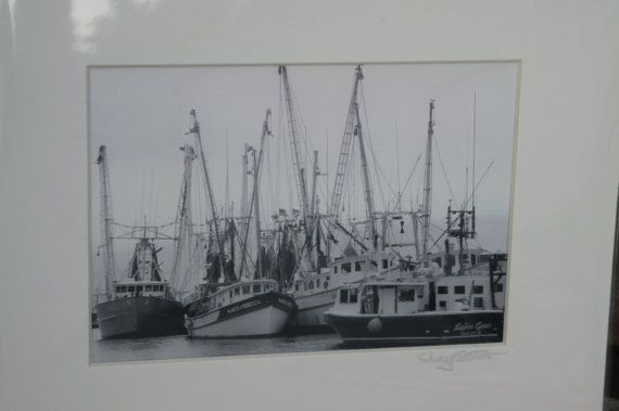 Etsy Ocean City MD fishing boats 5x7 photo B&W by OnIslandTime