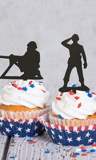 Army Cupcake Toppers Military Themed Party Cupcake Toppers