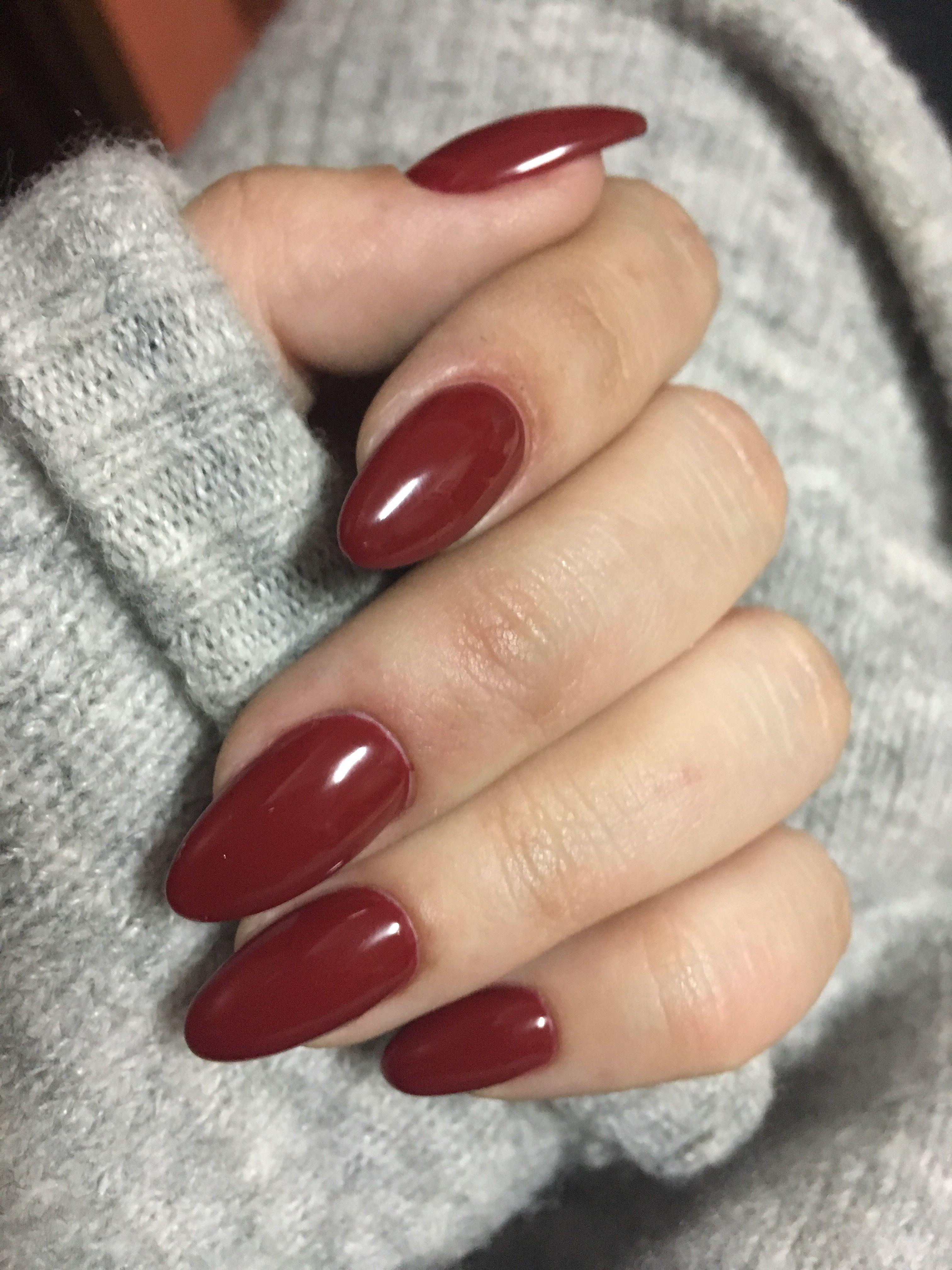 Burgundy Nails Unhas Bordo Almond Nails Burgundy Nails Almond Acrylic Nails Diy Nails