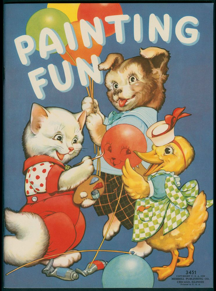 Color Activities Animal Books Childrens Vintage Art Antiques Paper Dolls Graphics Paintings Comic Book