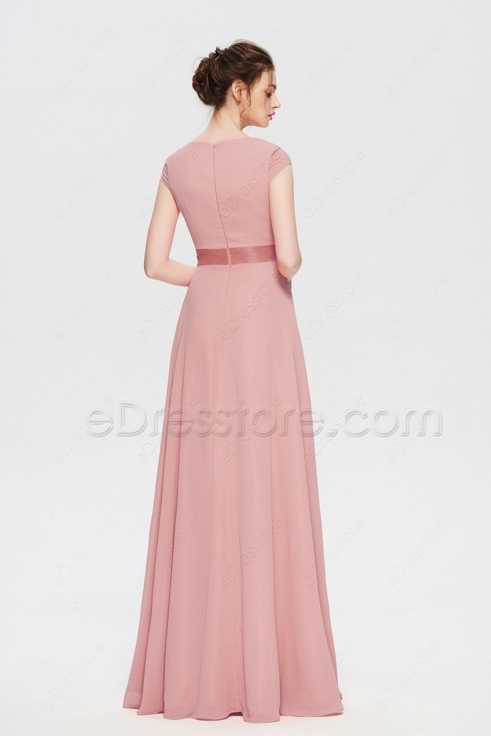 Modest Dusty Rose Mother Of The Bride Dresses Cap Sleeves Dresses Bride Dress Groom Dress