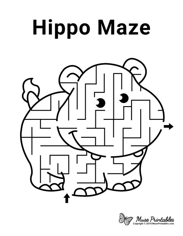 Free printable hippo maze. Download it at https ...