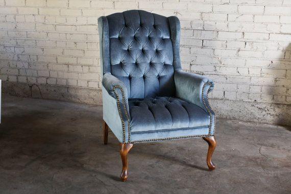 Vintage Antique Slate Blue Tufted Velvet Wingback Chair Velvet