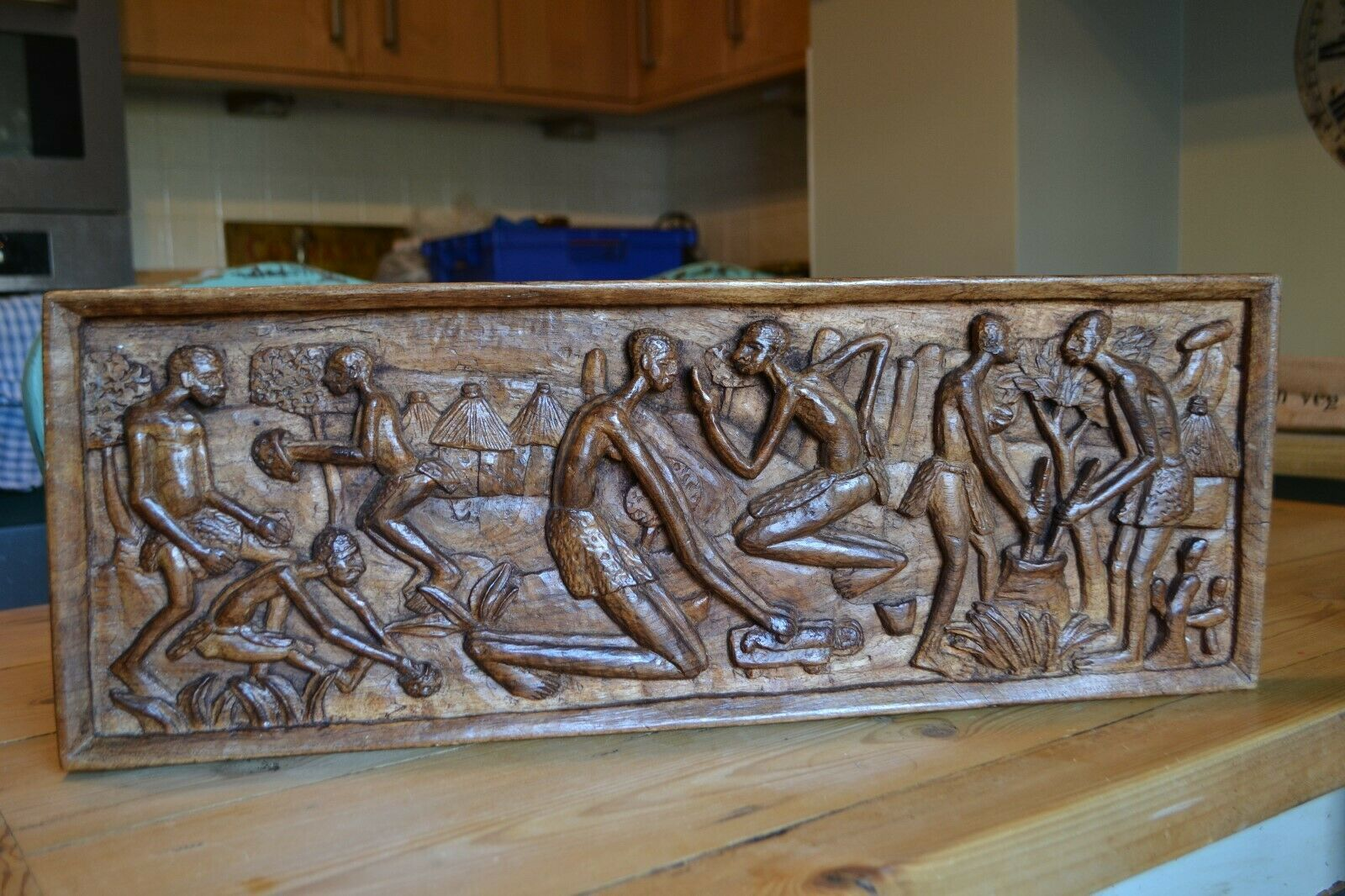 Vintage African Carved Wooden Panel Of Village Life 24 X 9 African Wood Carvings Carved Wooden Panels Unique Wood Carving