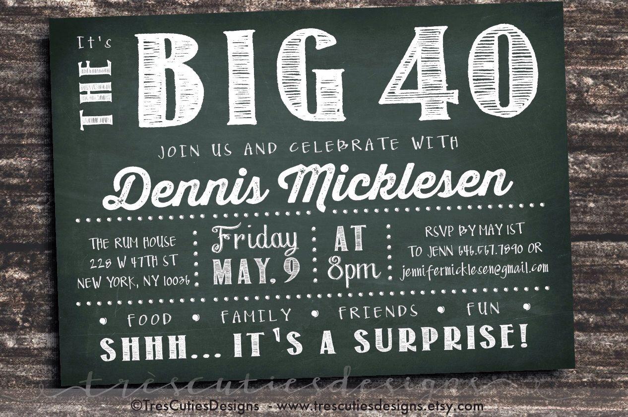 Adult Birthday Invitation - Male - Dk Green - Chalkboard Invitation ...