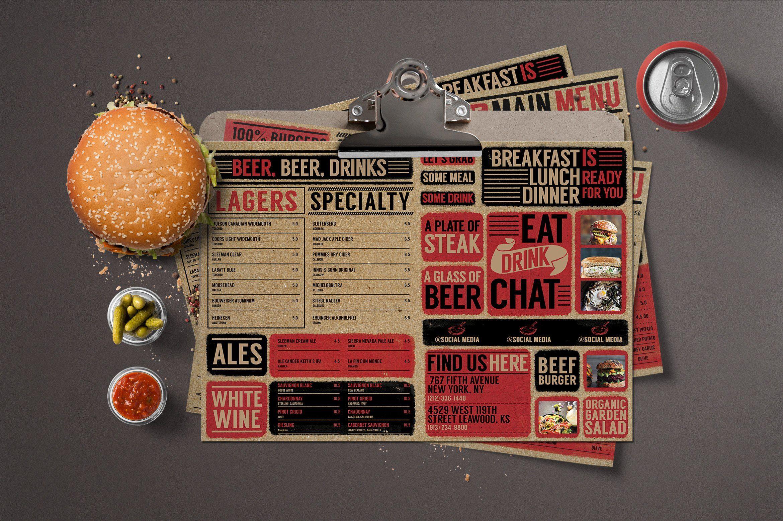 Rustic Cardboard Menu Food Menu Template Food Menu Design Menu Flyer