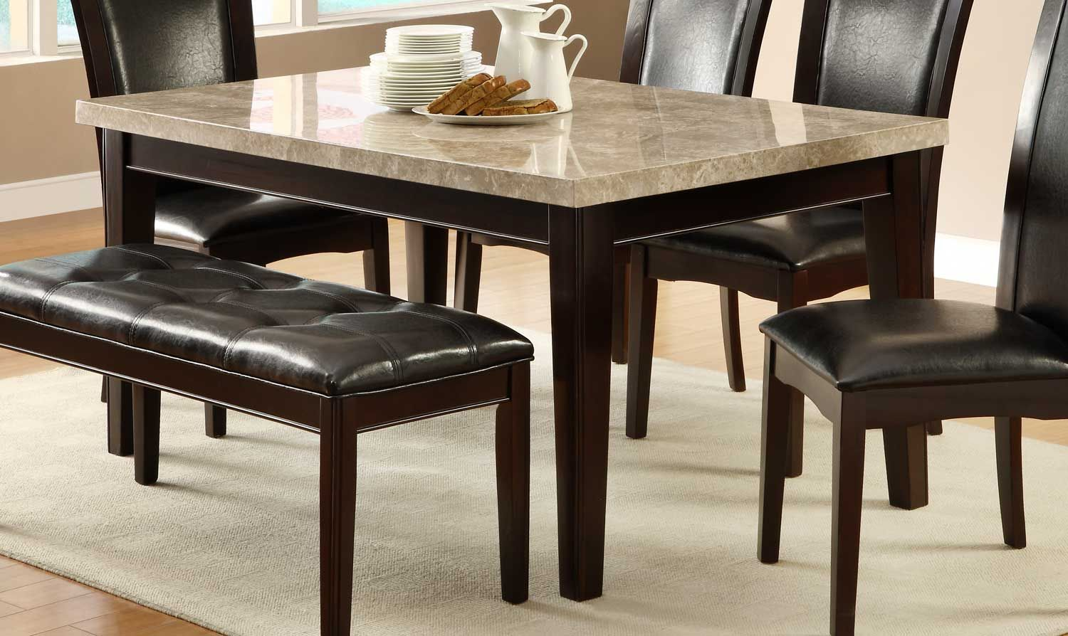 Homelegance Hahn Dining Table  Ivory Marble Topdark Brown Simple Dining Room Tables With Marble Top Inspiration Design