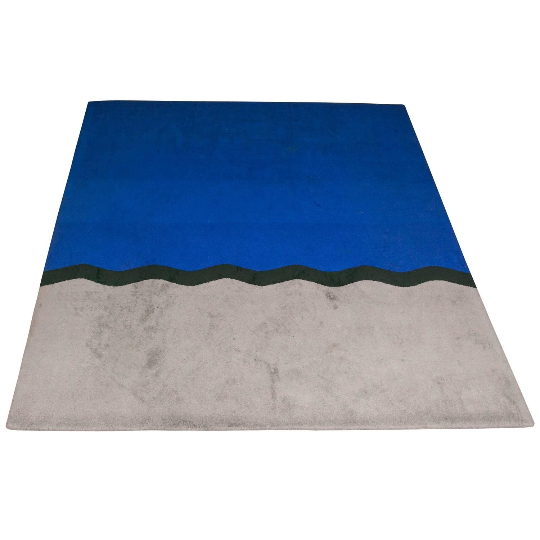 1980s Modernist Vintage Rug Tribute To Yves Klein Blue Rugs Rugs On Carpet Vintage Rugs
