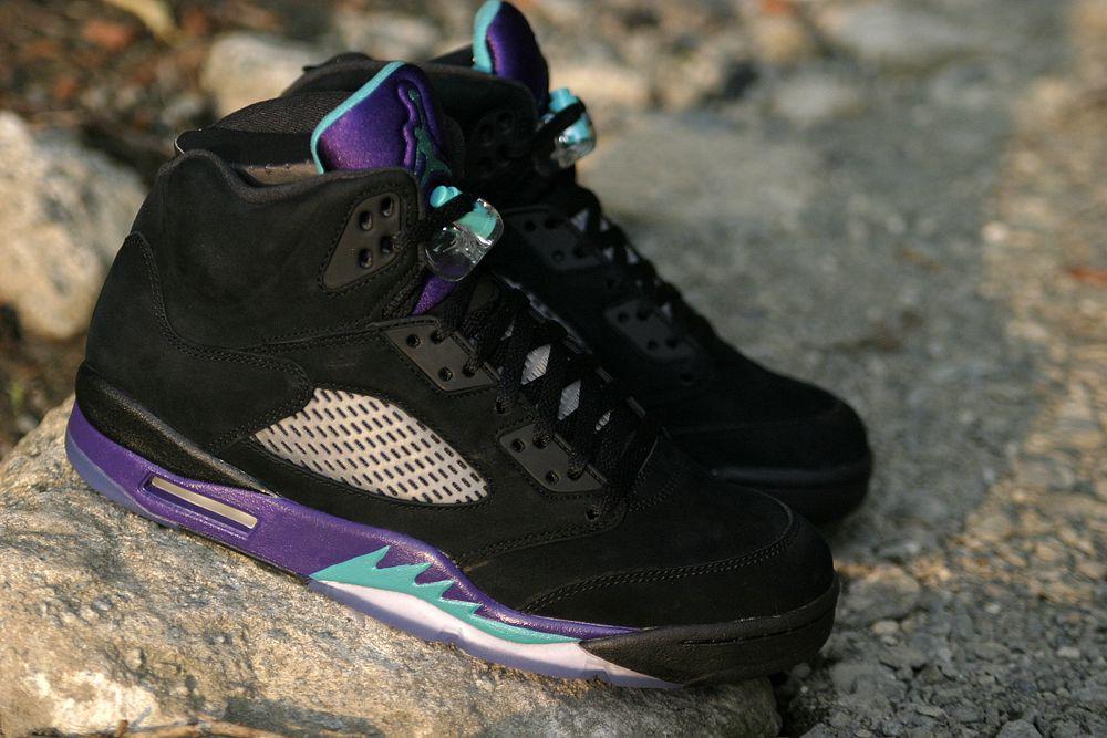 "Releasing: Air Jordan 5 Retro ""Black Grape""   Air jordans ...Jordan Grape 5 Black On Feet"