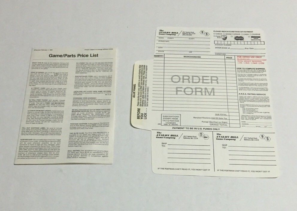 This Listing Include An Order Form From The Avalon Hill Game