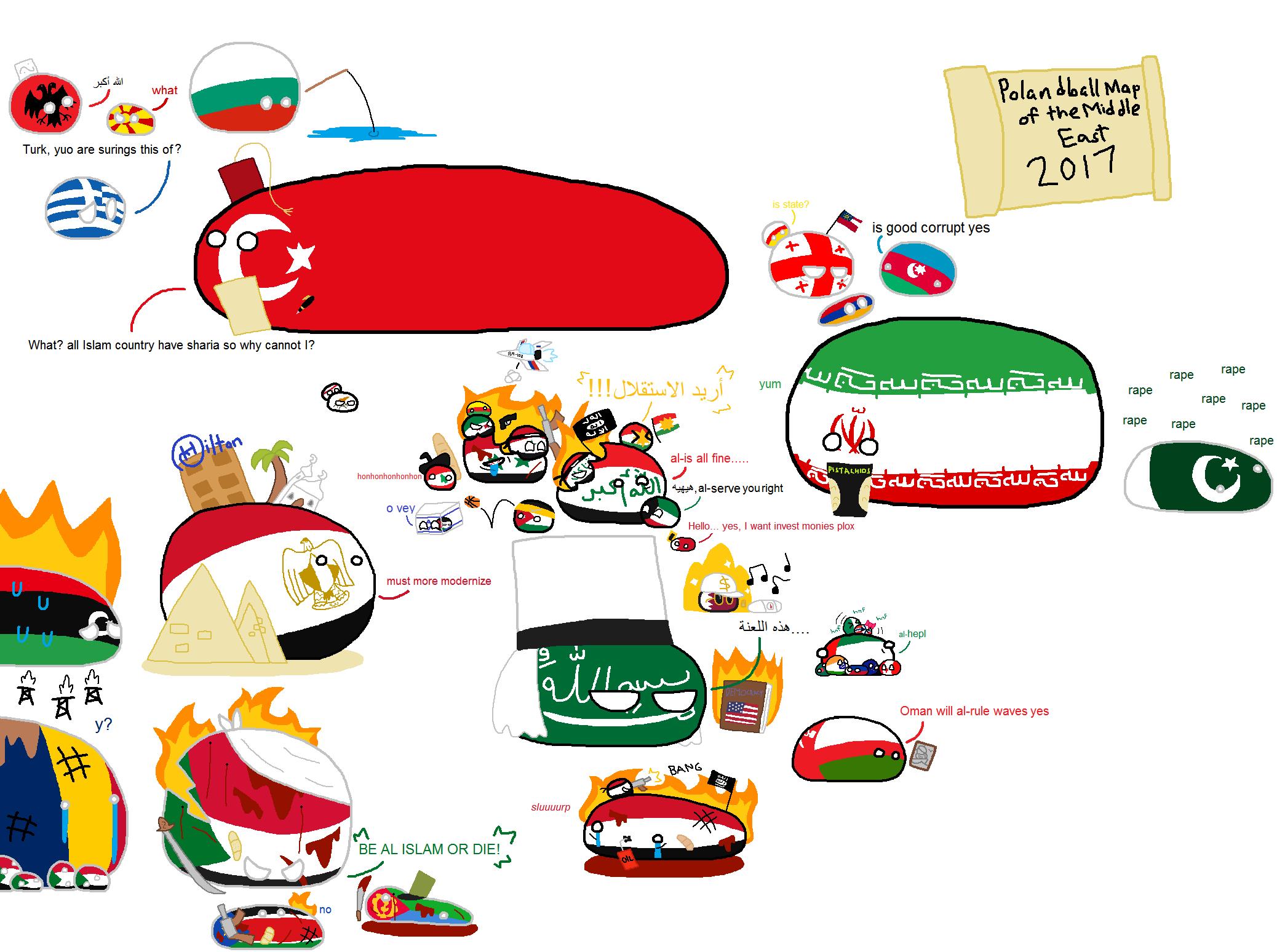 Polandball Map Of The World 2017.Polandball Map Of The Middle East 2017 Countryballs