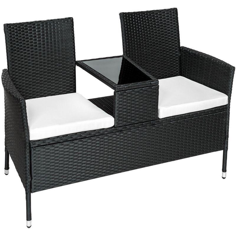 2 Fauteuils Avec Table Integree En Resine Tressee Marron 401548 Canape Jardin Table Et Chaises De Jardin Et Agrement De Jardin