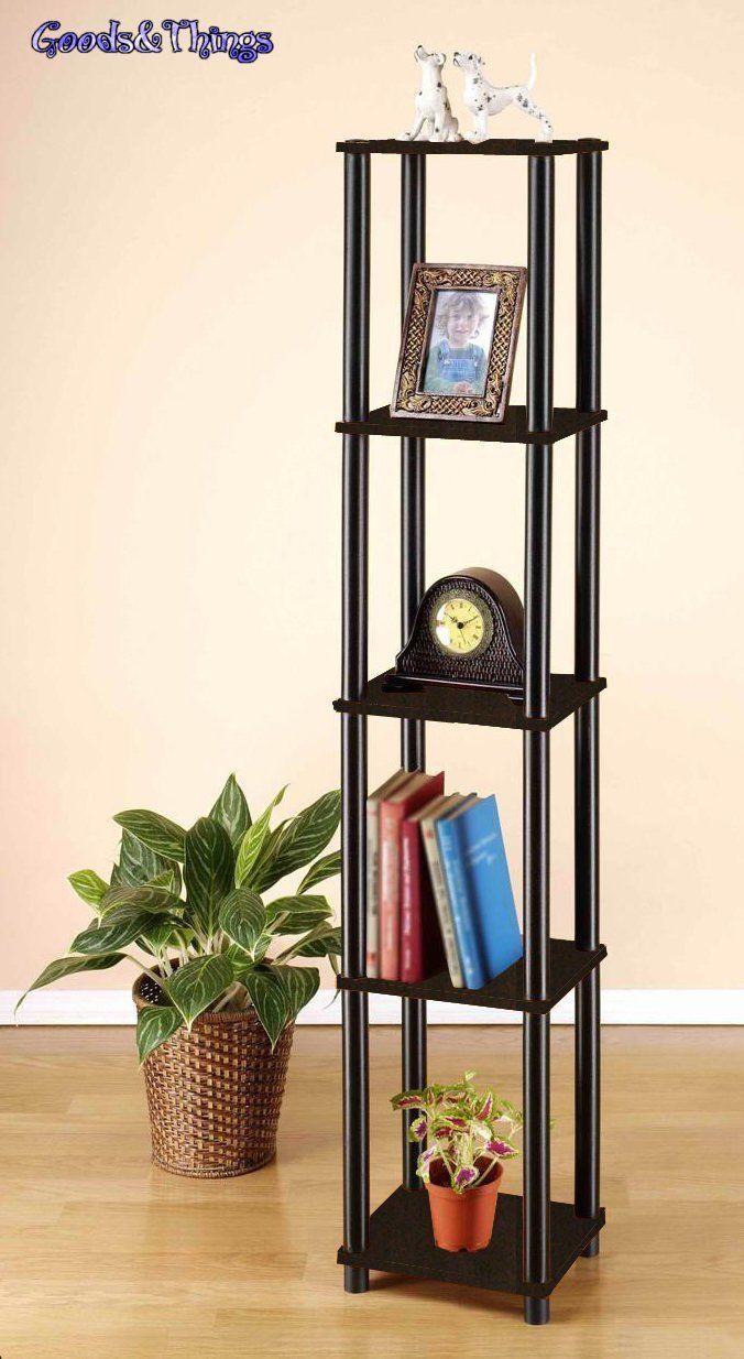 Furinno 99132ex Bk Turn N Tube 5 Tier Corner Square Rack Display Shelf Espresso Ebay Etagere Bookcase Bookcase Furinno